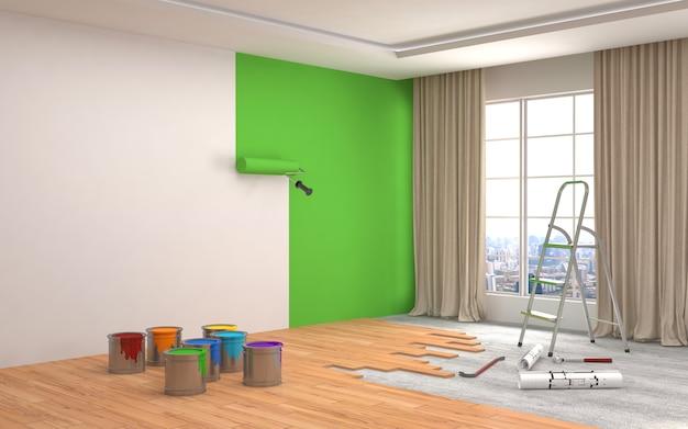 部屋の壁の修理と塗装。 3 dイラスト。