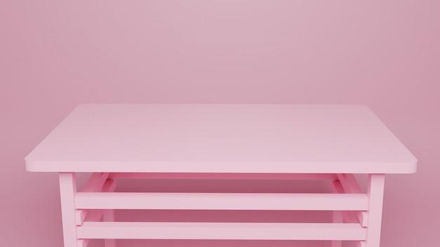3 dの最小限の空のピンクのテーブル