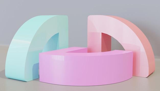 ディスプレイスタンドの抽象的な形の3 dモデル