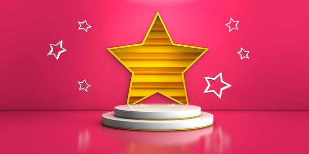 ピンクの背景と製品コンセプトの3 dレンダリングのための黄色の星の幾何学的な白いステージ