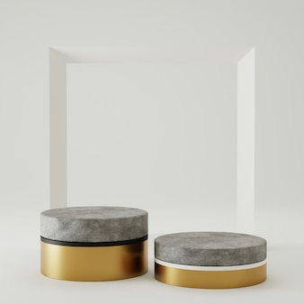 3 dレンダリング表彰台コンクリートとフレームの背景を持つ製品の表示のための金。最小限のスタイルのコンセプト