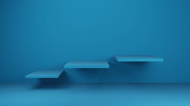 現在の製品、3 dレンダリングのスタジオまたはショールームの青いテーブル