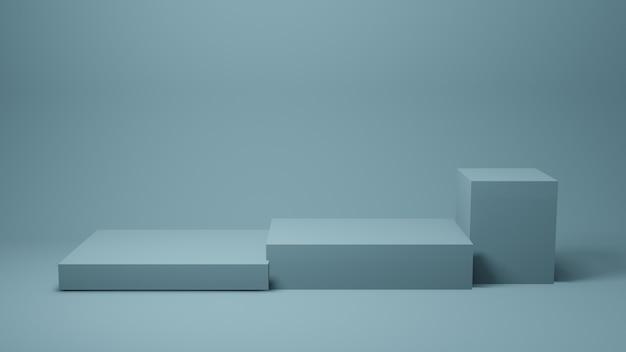 現在の製品、3 dレンダリングの壁に青いステージまたはテーブル