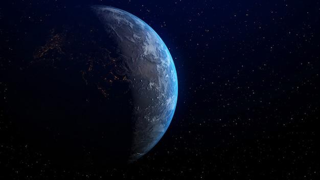 3 dレンダリングによる地平線の日の出と地球。