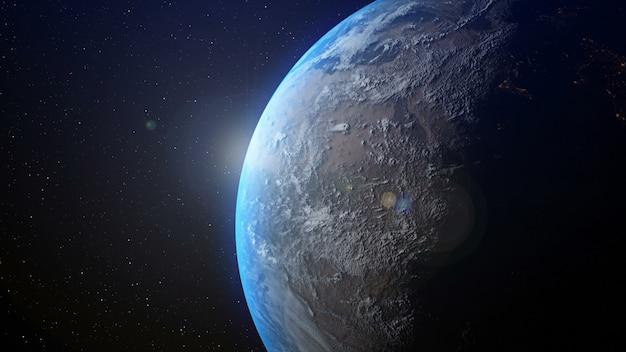 3 dレンダリングによって地平線で日の出と地球。