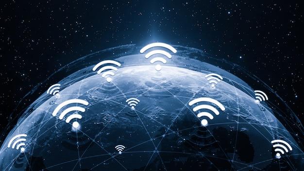 3 dイラストレーショングローバルモダンな創造的なコミュニケーションとインターネットネットワークマップ