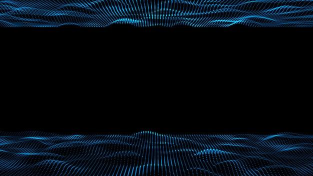 3 dの抽象的なデジタル技術の背景。粒子の青い色のイラストのデジタル波抽象タイトル