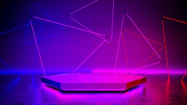 ネオンの光、抽象的な未来的な紫外線の概念、3 dのレンダリングと六角形のステージ