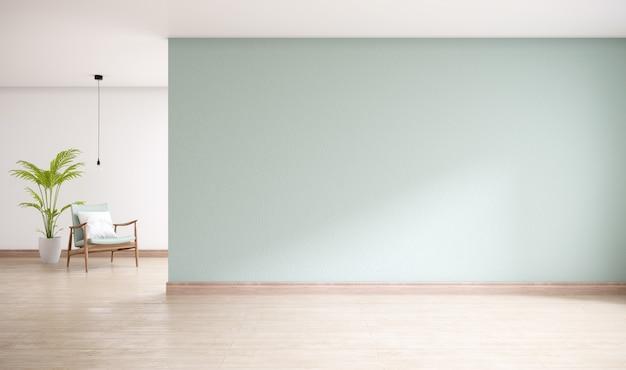 木製の床、リビングルームの最小限のインテリア、3 dレンダリングと緑の壁