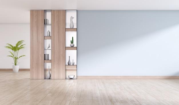 空のインテリアルーム、木製の棚とエンジニアリングされた木製のフロアーリング、3 dレンダリングと灰色の壁