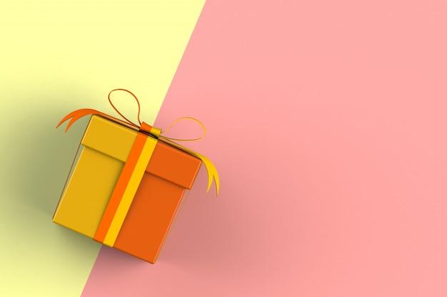クリスマスとお正月、赤と黄色の背景、3 dレンダリングに分離されたギフトボックス