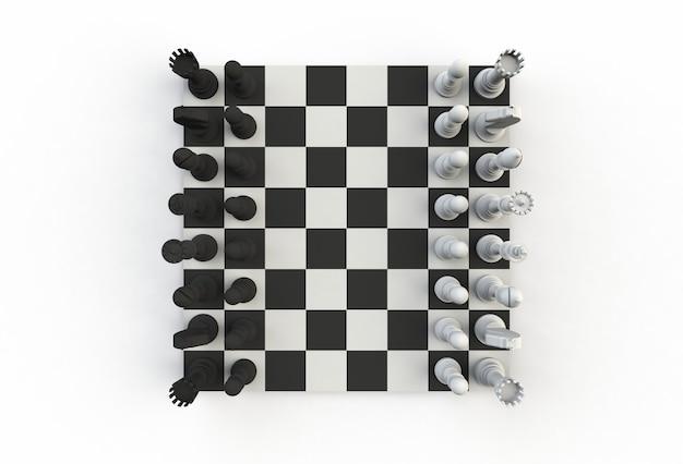 白い背景、3 dレンダリングのトランプの上のチェスの数字のトップビュー