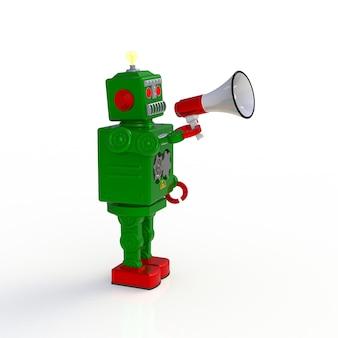 白い背景に分離されたメガホン3 dイラストを保持している緑のレトロなロボット