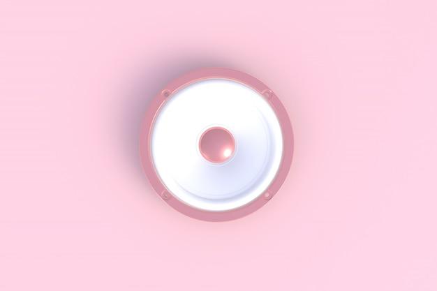 ピンクの背景、3 dレンダリングに分離されたサウンドスピーカー