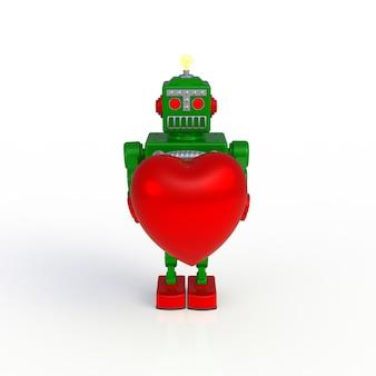 白い背景で隔離の心3 dイラストを保持している緑のレトロなロボット