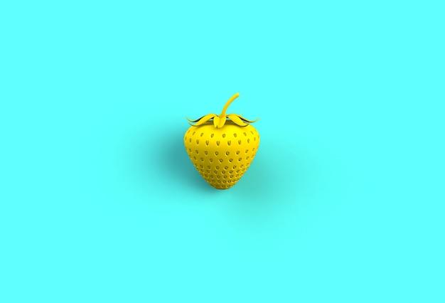 黄色のイチゴ、青い背景、3 dレンダリング