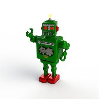 白い背景に分離された緑のレトロなロボット3 dイラスト。