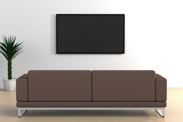 テレビとソファ、リビングルーム、白い壁のモダンなスタイル、3 dレンダリングでテレビを導いた空の部屋のインテリア