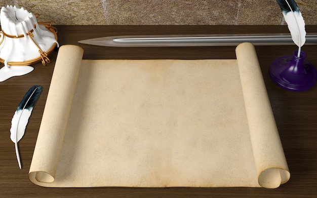 羽ペン、キャンドル、中世をテーマにした刀、3 dレンダリングのテーブルの上の古い空白アンティークスクロール紙