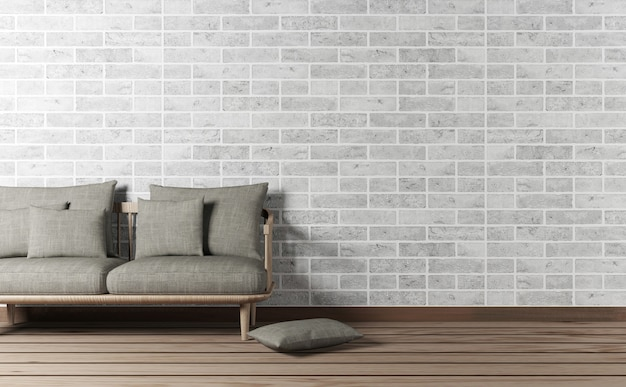 レンガの壁にソファとコピースペース付きのリビングルームのインテリア、3 dレンダリング