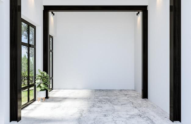 大きな窓、3 dレンダリングとモダンなコンクリート素材空ホールオープンスペースインテリア