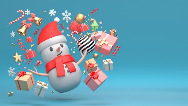 クリスマス雪だるま新年飾りの3 dレンダリング画像は、コピースペースの青い背景に分離します。