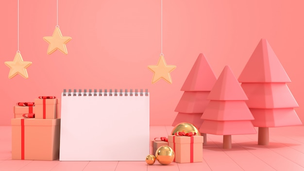 来年の目標のための空白のカレンダー用紙の3 dレンダリング画像は、クリスマスの飾りシーンで飾る。
