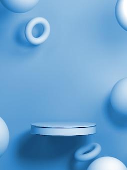 抽象的な青い色の幾何学的形状の背景、表彰台ディスプレイまたはショーケース、3 dレンダリングのモダンなミニマリストのモックアップ