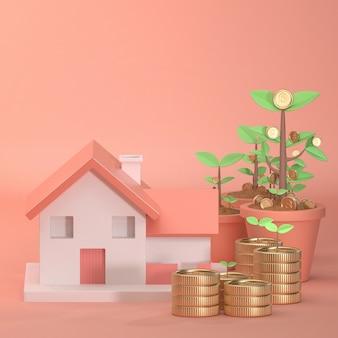 美しいピンクの背景に成長している家の3 dレンダリング画像は、ツリーツリーコインお金で飾る。