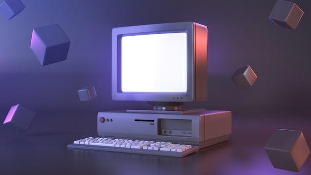 ゲームまたはコンテンツエディターに使用するコンピューターレトロの3 dレンダリング画像。