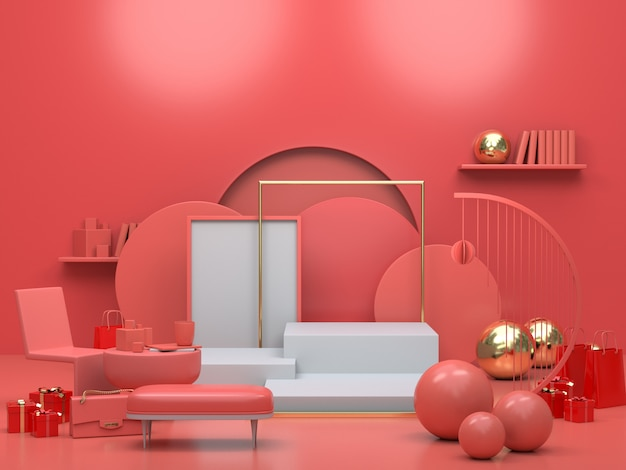 抽象的な形のインテリアアパートメントのリビングルームの3 dレンダリング