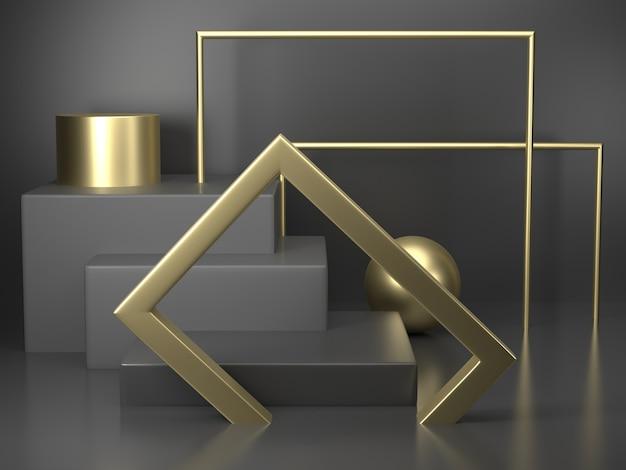 金の要素を持つ3 dレンダリング黒表彰台ジオメトリ。抽象的な幾何学的形状の空の表彰台。最小シーンスクエアステップフロア抽象的な構成