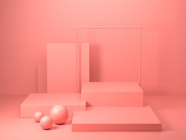 抽象的なピンク色の幾何学的形状の3 dレンダリング、表彰台のディスプレイまたはショーケースのモダンなミニマリストのモックアップ