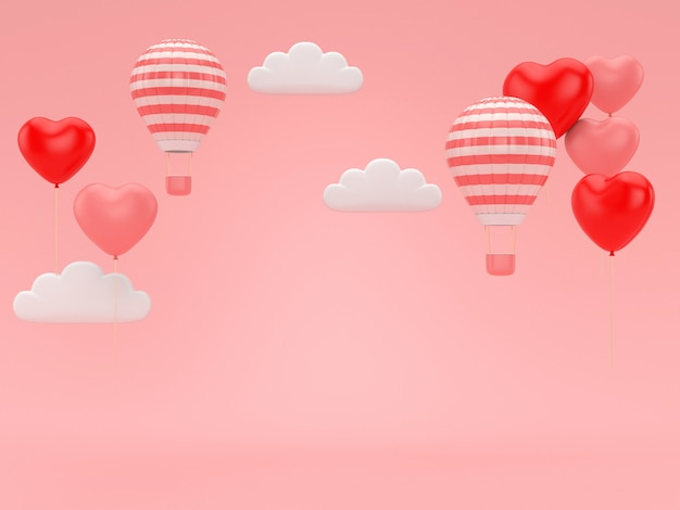 ピンクのロマンスの背景に浮かぶバレンタインバルーンの3 dレンダリング。