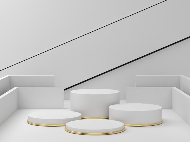 明確な背景、美容化粧品の抽象的な最小限の表彰台空白スペースにホワイトゴールド台座の3 dレンダリング