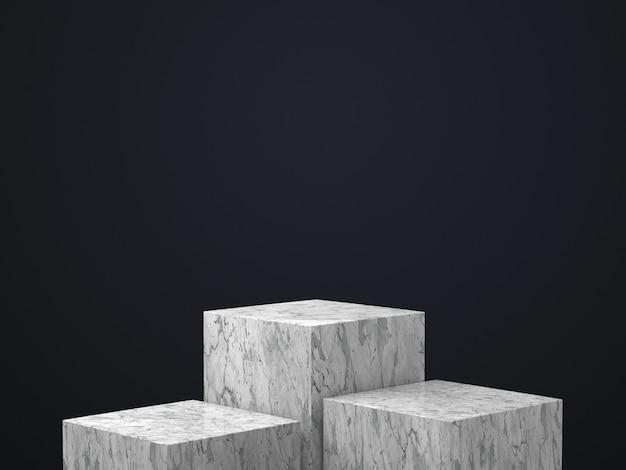 黒い壁、ゴールドフレーム、メモリアルボード、シリンダーステップ、抽象的な最小限のコンセプト、空白スペース、すっきりとしたデザイン、豪華なミニマリストに分離された白い大理石の丸い台座の3 dレンダリング