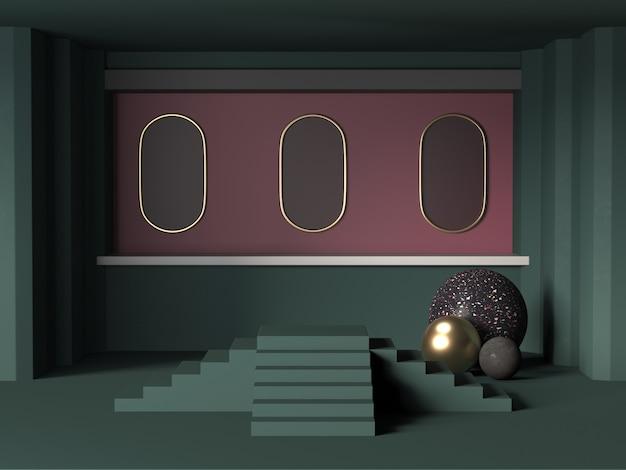 暗い部屋で幾何学的な表彰台の3 dレンダリング