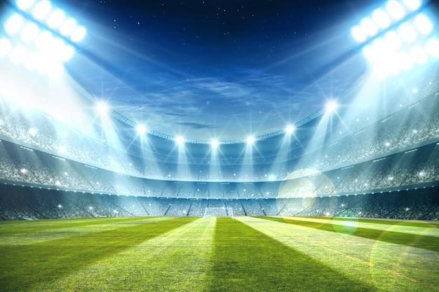 夜とフットボールスタジアムの照明3 dレンダリング