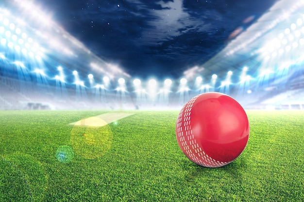クリケットスタジアムのボールの光と点滅3 dのレンダリング