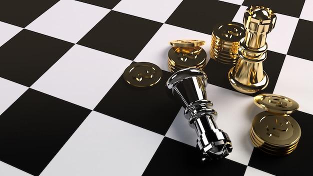ビジネスコンテンツのチェスとゴールドコインの3 dレンダリング。
