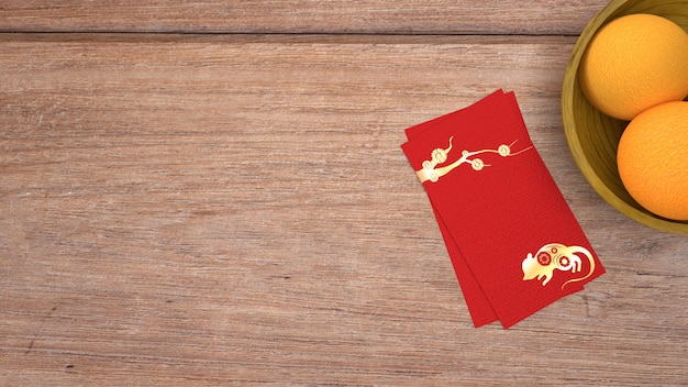 3 dレンダリング赤い封筒報酬中国の旧正月