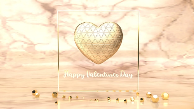 バレンタインデーのコンテンツのゴールドハートとゴールドフラム3 dレンダリング。