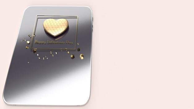 バレンタインデーのゴールドハート3 dレンダリング。