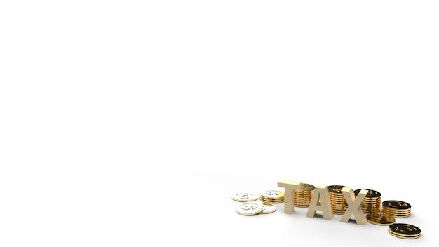 ビジネスコンテンツ用の木税とコインの3 dレンダリング画像。