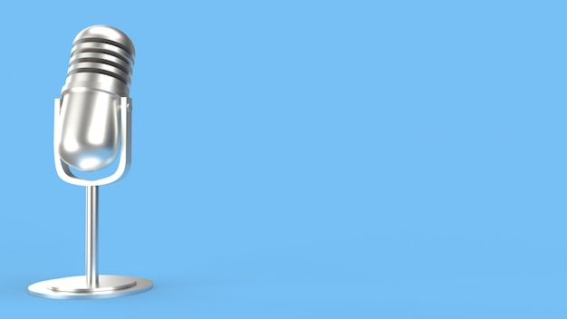 ポッドキャストコンテンツの青い部屋の3 dレンダリングのビンテージマイク。