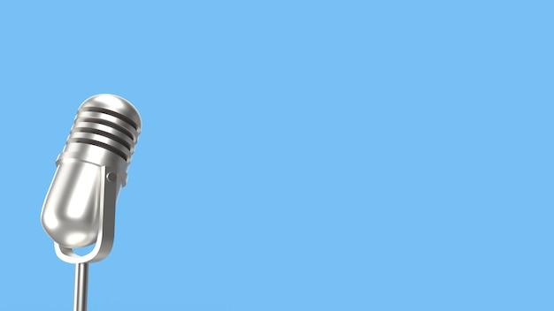 ポッドキャストコンテンツのビンテージマイク3 dレンダリング。