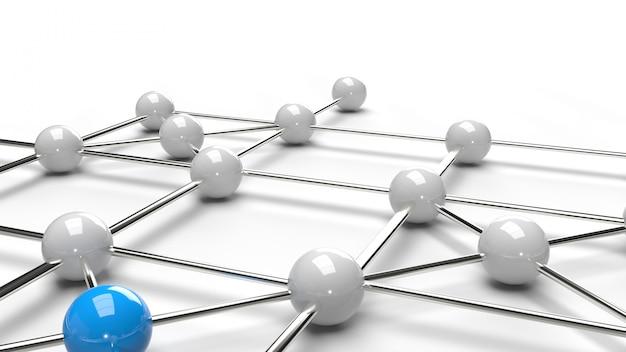 抽象的なデザイン接続デザイン青と白の球体ネットワーク構造3 dレンダリング。