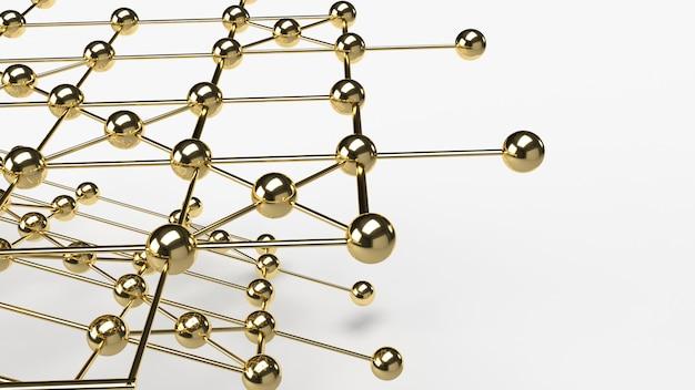 抽象的な設計接続設計金球ネットワーク構造3 dレンダリング。