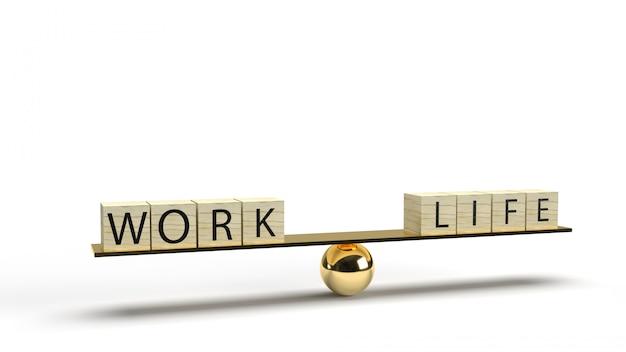 ウッドキューブの仕事とプレート上の生活は、抽象的なコンテンツの3 dレンダリングのバランスをとります。