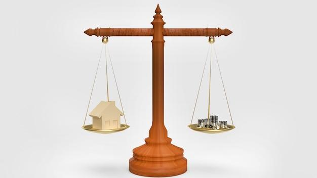 お金のために家を売るコンセプトの家とコインの3 dレンダリング。